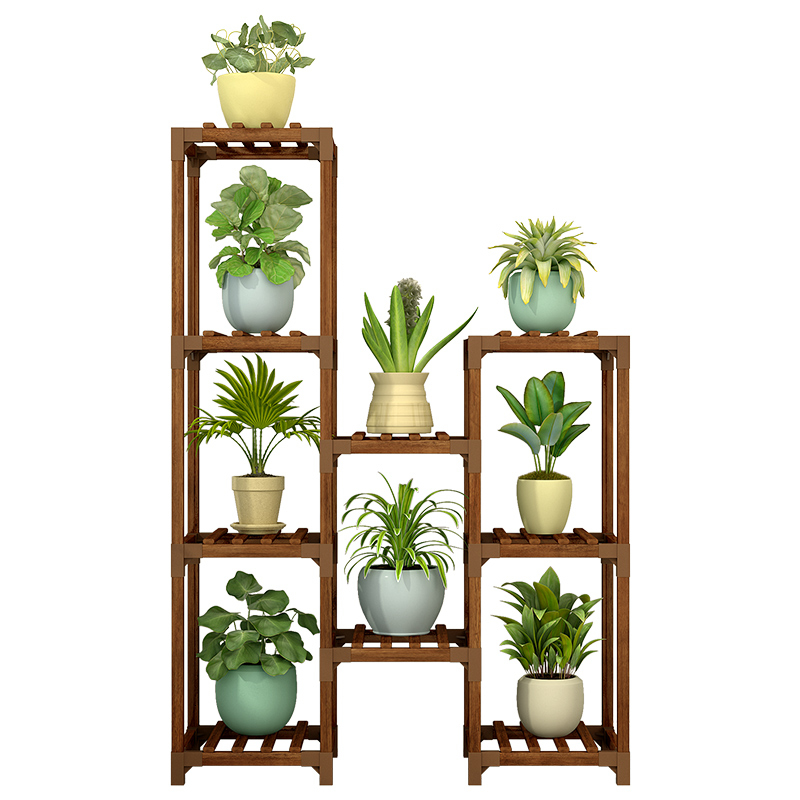 Multi-storey Indoor Balcony Household Living Room Solid Wood Quality Landing Type  Single Flowerpot Frame