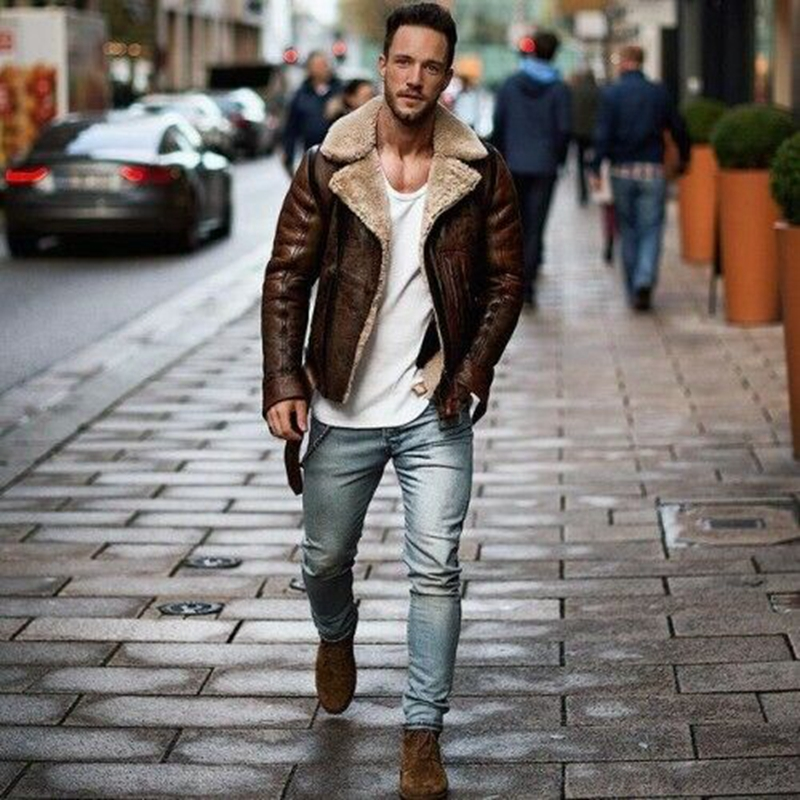 Men Vintage Cool Motorcycle Jacket Leather Long Sleeve Bomber Coat Warm Aviator Brown Bomber Fur Collar Sheepskin Leather Jacket