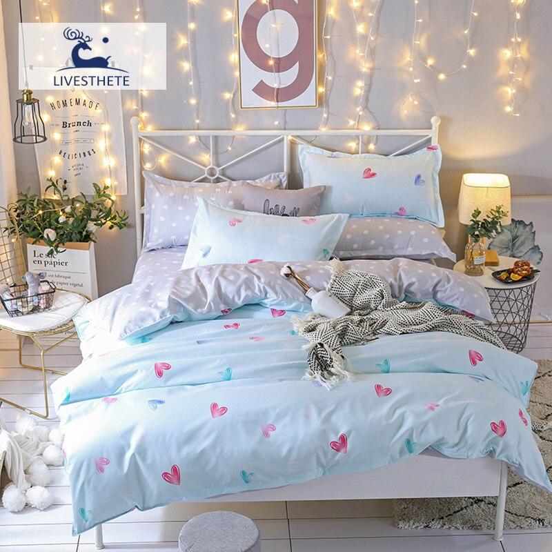 Liv-Esthete Fashion Love Flower Blue Bedding Set Soft Printed Duvet Cover Pillowcase Double Queen King Bed Linen Flat Sheet