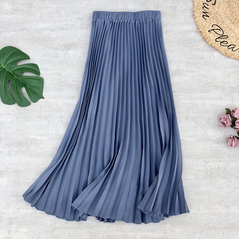 Spring Summer Women Midi Skirts Chiffon Pleated High Waist Long Skirts Stretched Daily Casual Style Women's Skirt Jupe Femme