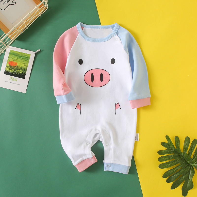 0-1-Year-Old Cute Pink And Blue Piggy Infant Baby Clothes Spring And Autumn Newborns Clothes Crawling Clothes Onesie Romper
