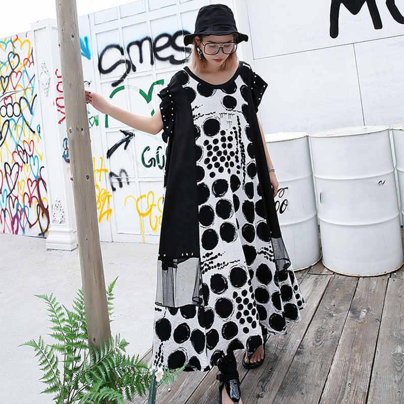 XITAO Dot Splice Malha Rivet Midi Vestido para Mulheres de Tamanho Grande Verão de Manga Curta Mulheres Sexy Vestido Plus Size Moda 2019 DLL3570