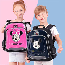 Disney Children School Bag Minnie Mickey Backpack for Primary School Students 5-14 Years Old Decompression Spine Protection Bag