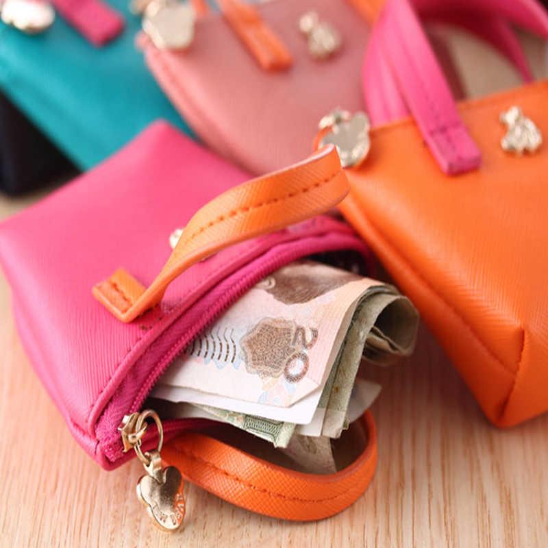 צבעים בוהקים מיני PU מטבע מפתח בעל ארנק קטן צבעוני שינוי תיק לנשים מתוק סוכריות צבעים מצמד כסף ארנק ארנק