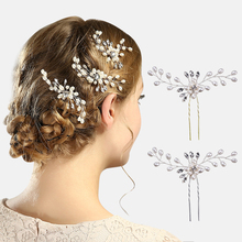 купить New Bride Tiara Hair Accessories Handmade Pearl Crystal Hairpin Gorgeous Sparkly Hair Sticks wedding дешево
