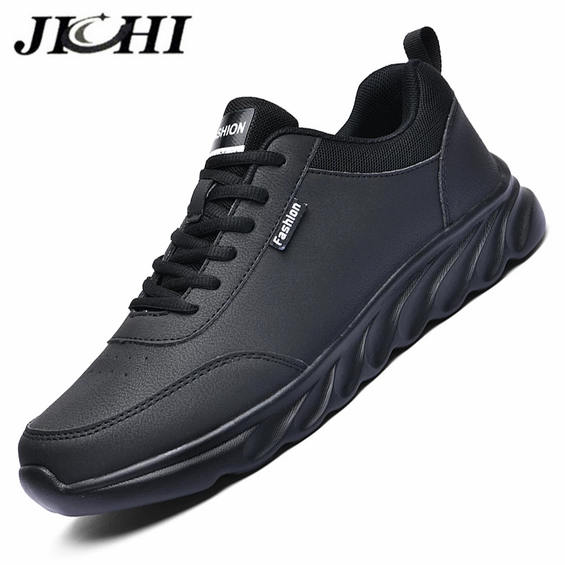 Мужские кожаные кроссовки JICHI 2020, кожаные дышащие мужские кроссовки, удобная обувь на шнуровке для мужчин, Легкие резиновые прогулочные туф...