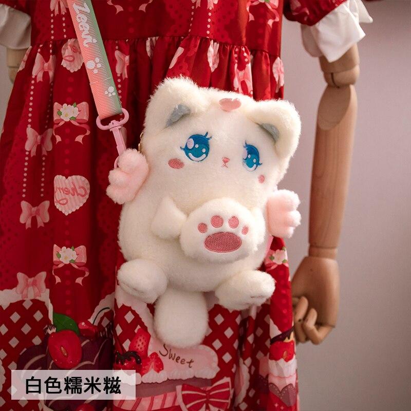 Super Cute Cat Plush Messenger Bag Sweet Lolita Soft Girl Furry Shoulder Bag Handbag Cosplay Japanese Kawaii JK Dolls Bags
