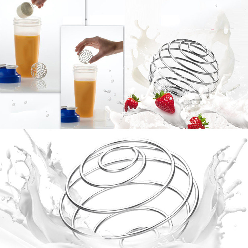 High Quality Milkshake Protein Shaker Ball Wire Mixer Mixing Whisk Stainless Steel Spring Balls Mixing Ball Kitchen Tools 1/4Pcs