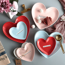 Nordic Heart-shaped Ceramic Dinner Plates Breakfast Snack Plate Kitchen Creative Tableware Jewelry Storage Dish Home Decoration