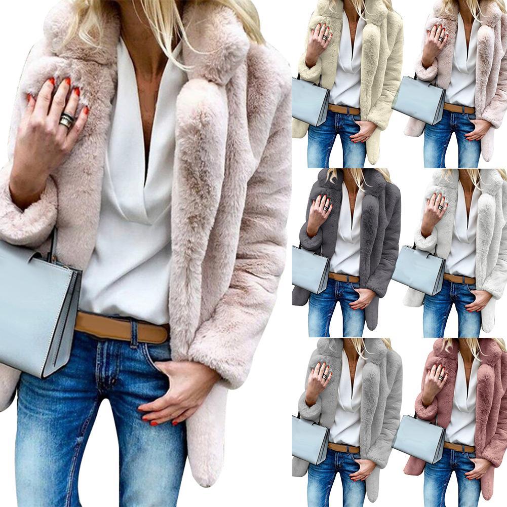 Winter Solid Color Thick Faux Fur Lapel Coat Loose Women Warm Jacket Outwear
