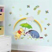 Cartoon Winnie Pooh Wall Decals Kids Rooms Bedroom Home Decor Disney Animals 40*60cm Stickers Pvc Mural Art Diy Posters