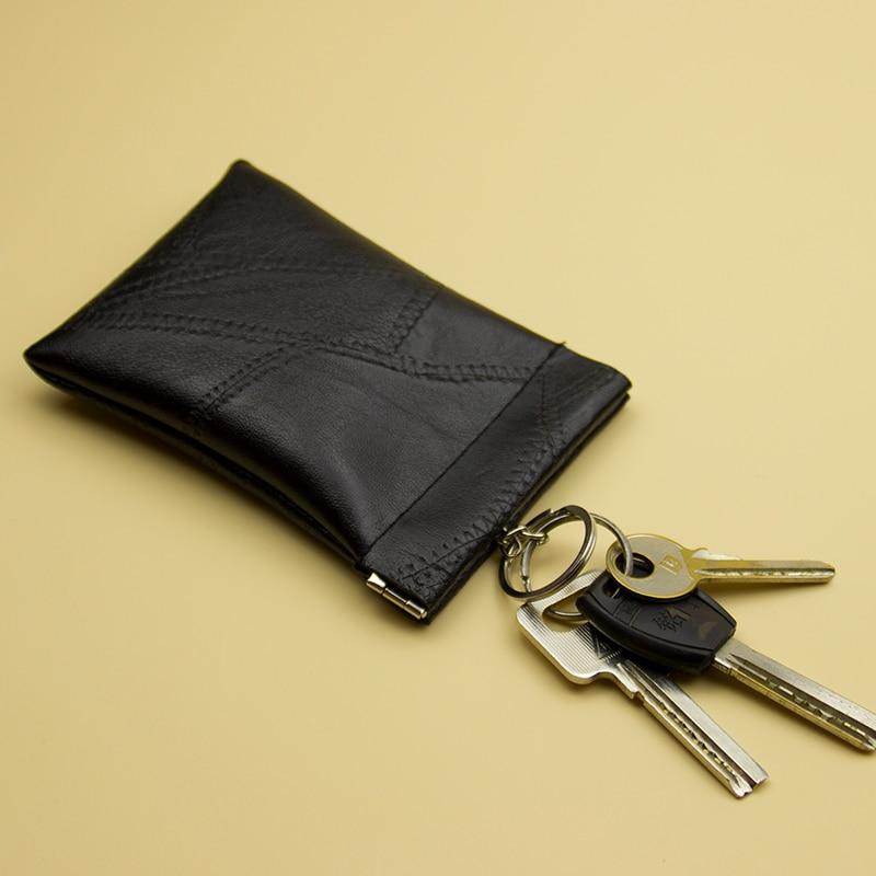 Lralra New Fashion Leather Long Pocket Key Wallet Keyring Coin Purse Women Men Small Short Money Change Bag Little Card Holder