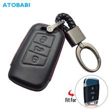 4D Custodia In Pelle Chiave Dell'automobile Per Il VW Volkswagen Skoda Superb Magotan Passat B8 A7 Golf Smart Remote Fob Copertura Portachiavi accessori del sacchetto(China)