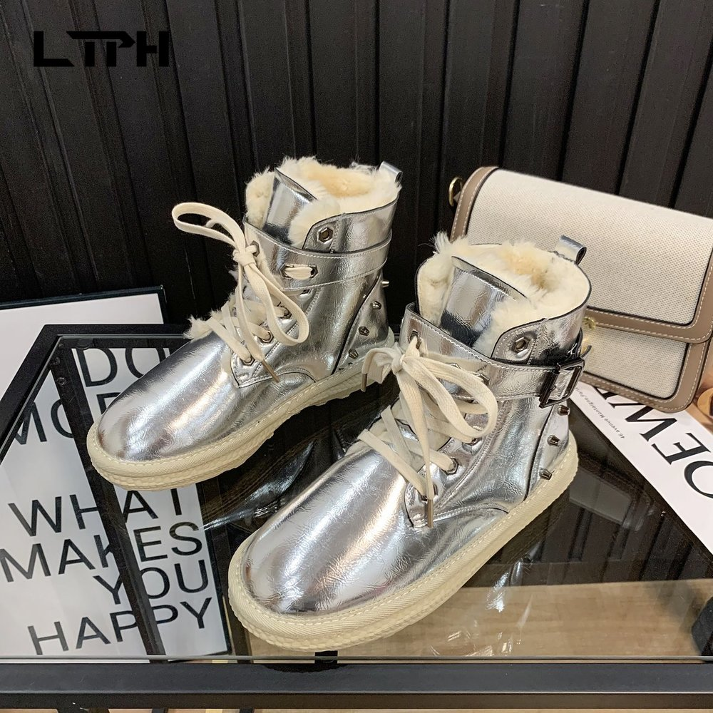 LPTH snow boots women's autumn and winter 2020 new boots all-match flat-bottomed plus velvet thick short boots warm cotton shoes