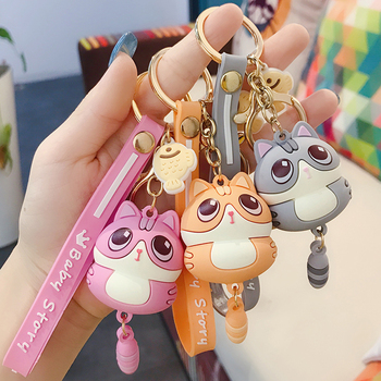 Cute Little Cat Keychain Pendant Fashion Car Key Chain Ring Car Creative Ornaments Charm Door Key Bag Decoration New year Gifts image