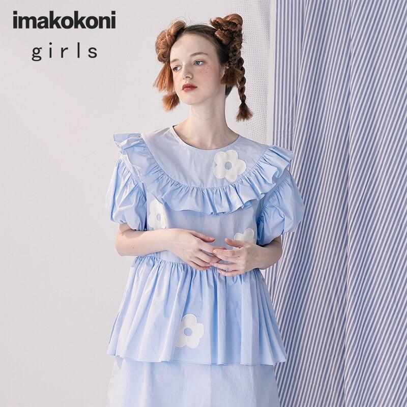 imakokoni original design blue stitching lace dress pure cotton short-sleeved sweet princess dress female spring and summer