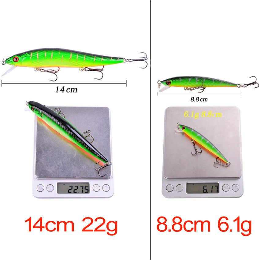 1Pcs 14cm 22.7g Topwater wobbler 3D Mata Memancing Umpan Ikan Kecil Umpan Keras 3 Kait ikan Crankbait Mengambang fishing Tackle