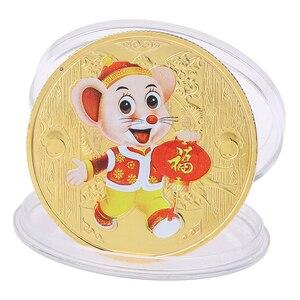 1 шт. 2020 позолоченная/Посеребренная памятная монета с мышкой крысой, китайская коллекция монет зодиака, подарок на Новый год, товары для укра...