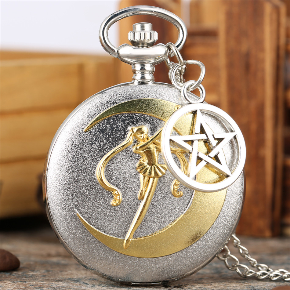 Silver Gold Sailor Moon Theme Quartz Pocket Watch Lovely Japanese Anime Necklace Watch Roman Numerals Display Pendant Clock