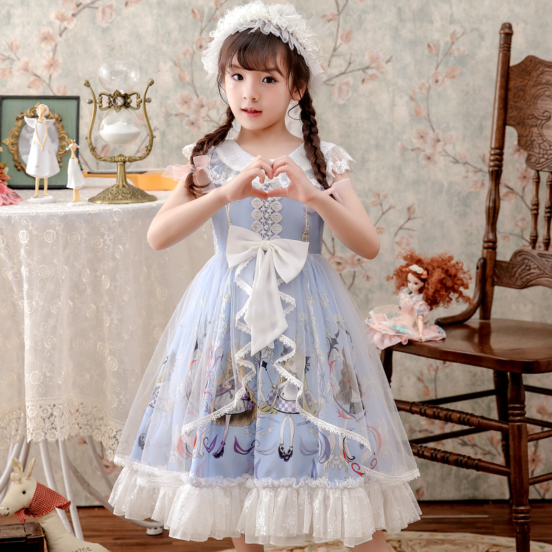 Summer Girls Kawaii Sweet Cute Princess Lolita Dress Kids Vintage  Printed Patterns Lace Pink Blue Skirt And Headband Suit 3-12T