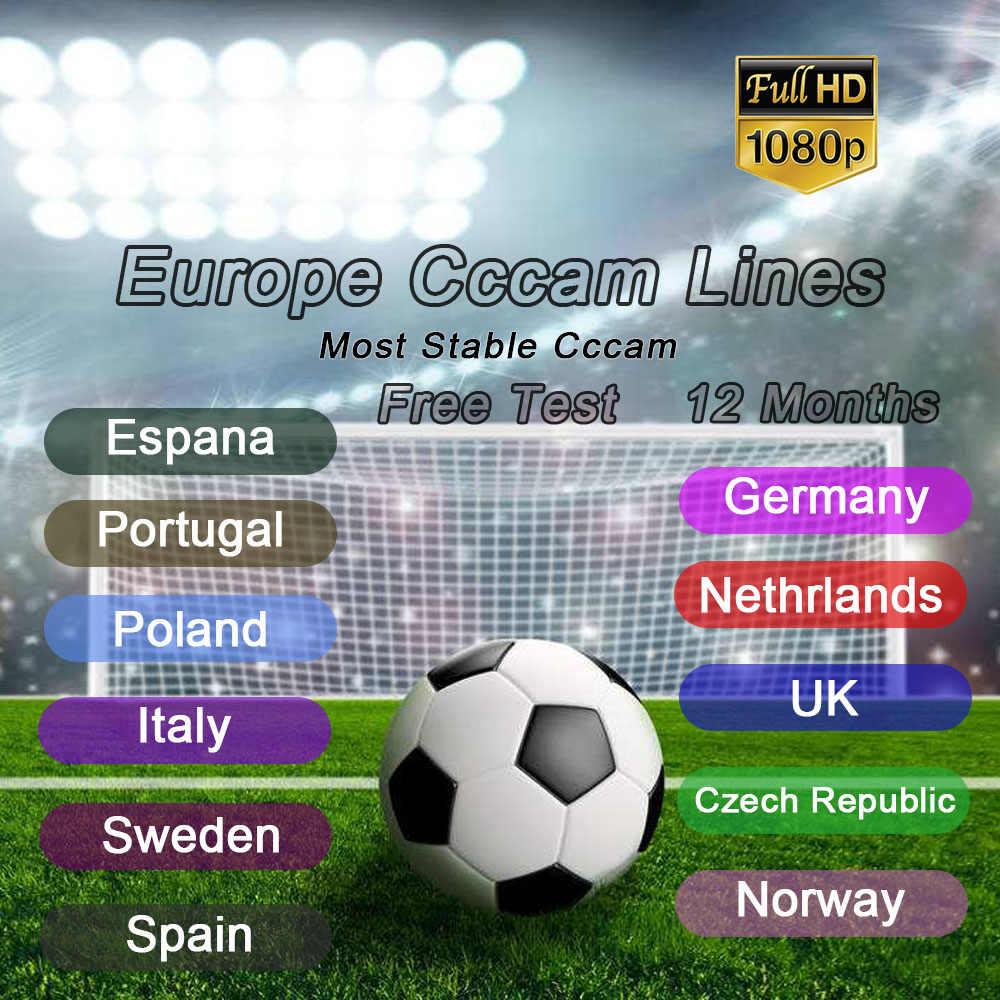 安定した 2 年ヨーロッパ Cccam Clines HD サーバスペインポルトガルドイツポーランド Ccams 衛星受信機 GTmedia V8 V9 freesat