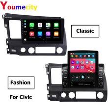 Radio Multimedia con Gps para coche, Radio con reproductor DVD, ocho núcleos, Android 9,0, navegador, 2Din, 2008 pulgadas, vídeo, BT, para Honda Civic 4d FN 8 Fk 2006 2011 10,1