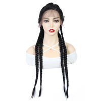 X TRESS Natural Black Straight Wigs Braided Long Braids Three Part Swiss Lace Front Synthetic Wig with Baby Hair Trendy Fashion