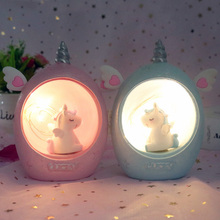 Resin Night Lights Lovely Unicorn Cartoon Decoration Dream Bedside Desktop Light Gifts for Children