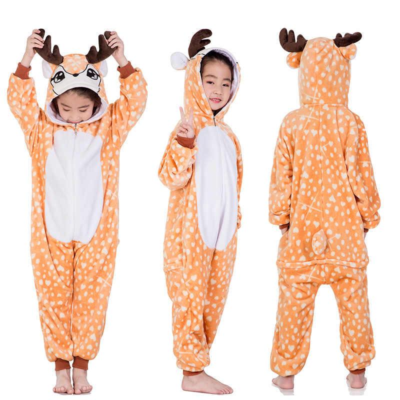 Пижамы кигуруми, единорог для детей, пижамы для маленьких девочек, одежда для сна для мальчиков, животные, Лев, олень, единорог, комбинезон, Детский костюм, комбинезон