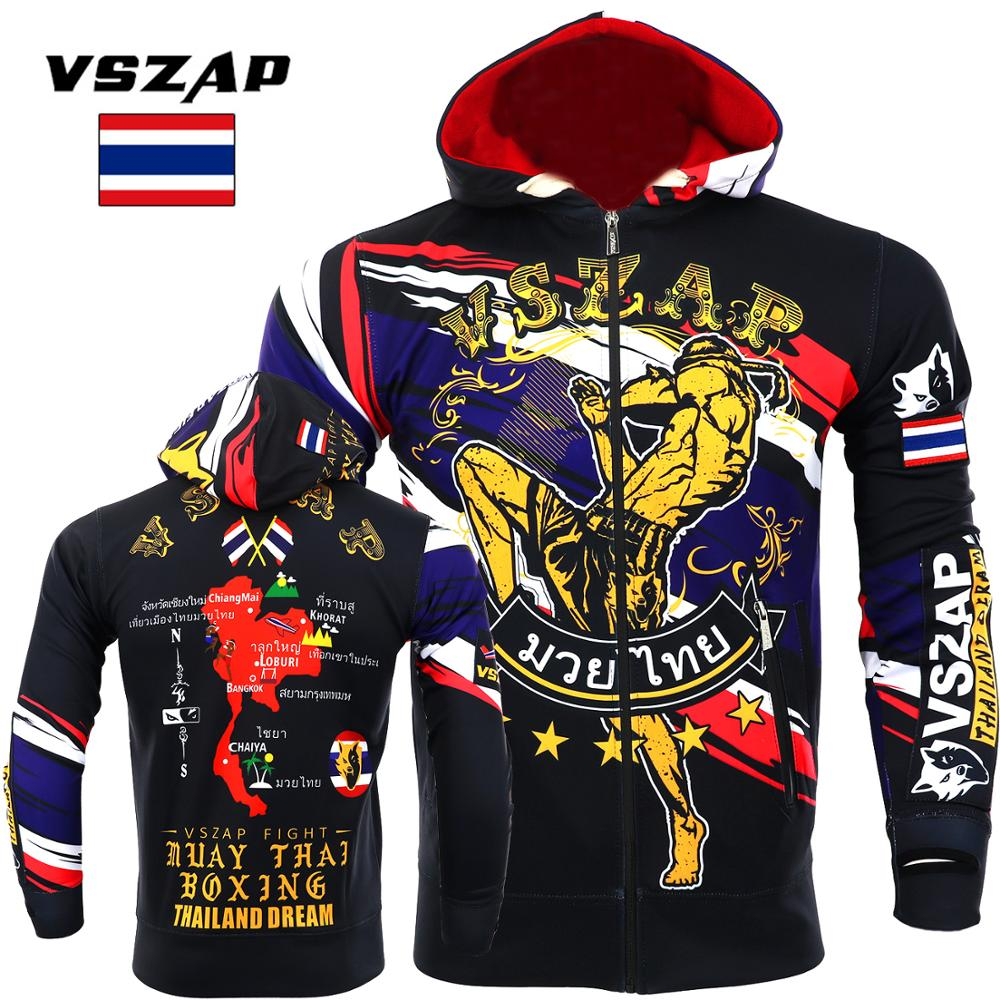 VSZAP Boxing Clothing Fall Muay Thai Hooded Fitness Zip Hoodie MMA Fighting Jacket Fighting Muay Thai Kickboxing Training Jacket