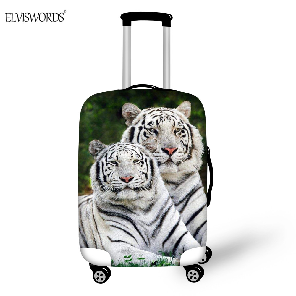 ELVISWORDS Luggage Cover White Tiger 3D Print Thick Elastic Dustproof Trolley Suitcase Protector Travel Accessories