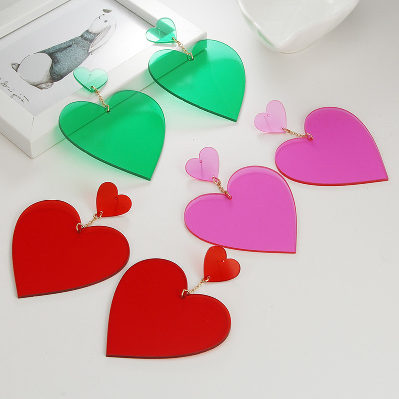 Exaggerated Punk Neon Red Pink Heart Drop Earrings Geometric Big Personality Long Dangle Earring Brincos Party Nightclub Jewelry