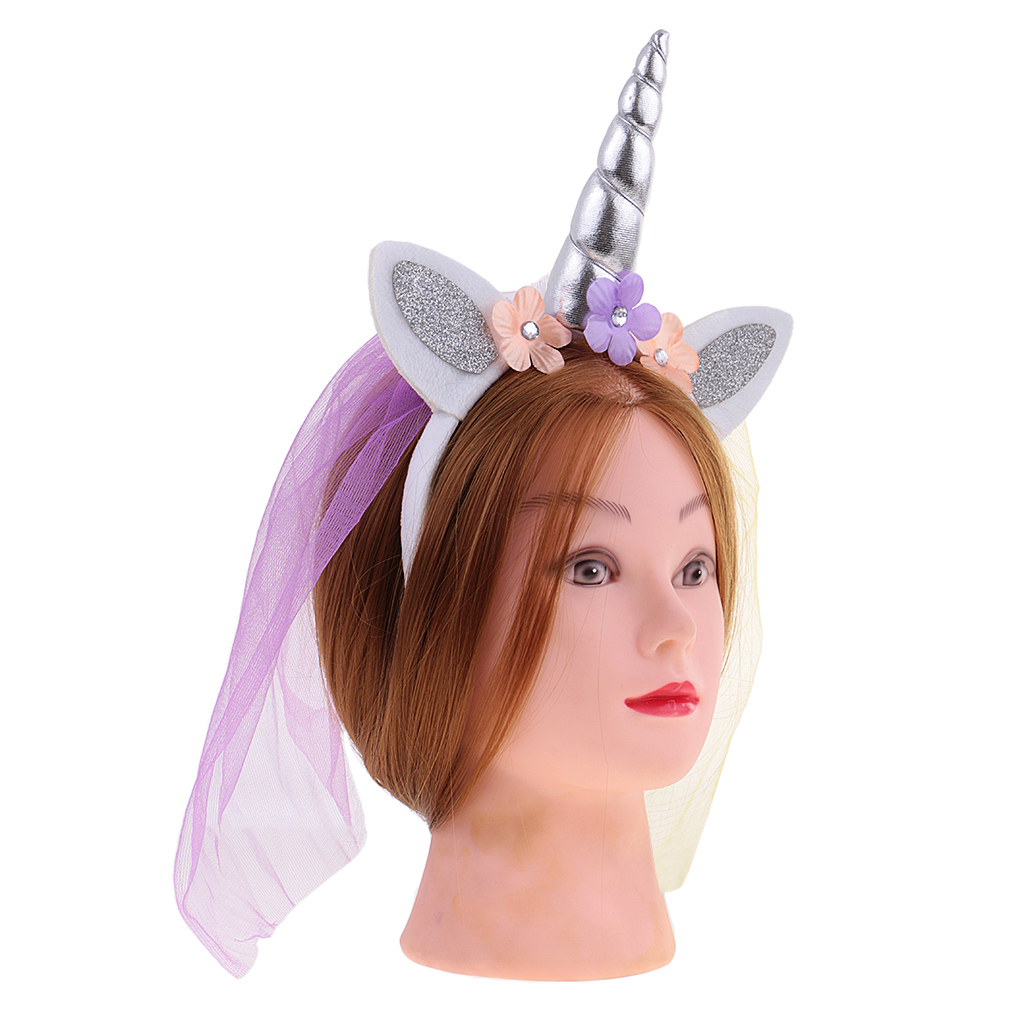 2//pack Girls Pink Flower Unicorn Horn Headband with Veil Party Fancy Dress
