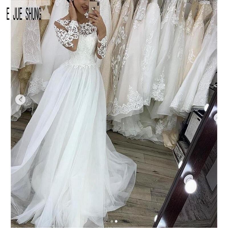 E JUE SHUNG Robe De Mariage Long Sleeves Boho Wedding Dresses Button Back Lace Appliques Vintage Beach Bridal Gowns