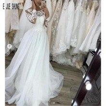 E JUE SHUNG Robe De Mariage vestidos De novia bohemia De manga larga con botones en la espalda Apliques De encaje Vintage vestidos De novia De playa