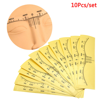 10pcs Disposable Ruler Sticker Positioning Tatoo Eyebrow Permanent Makeup Symmetrical Tool Grooming Stencil Shaper Balance Ruler