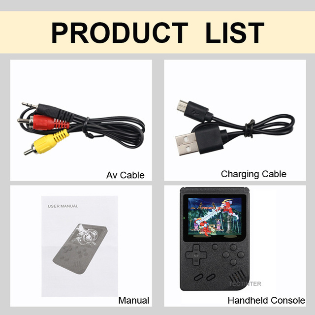 Retro Portable Mini Handheld Video Game Console 8-Bit 3.0 Inch Color LCD Kids Color Game Player Built-in 400 games 6