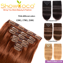 Натуральные волосы на заколках, Реми, человеческих волос на зажимах, полная голова, 7 штук, с кружевом, 110-130 г, шелковистые прямые волосы Showcoco на заколках