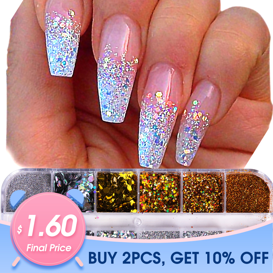 1Case Nail Glitter Powder Dust Iridescent Flakies Sequins Gold Silver Super Shining Paillette Nail Art Manicure Decoration JIT