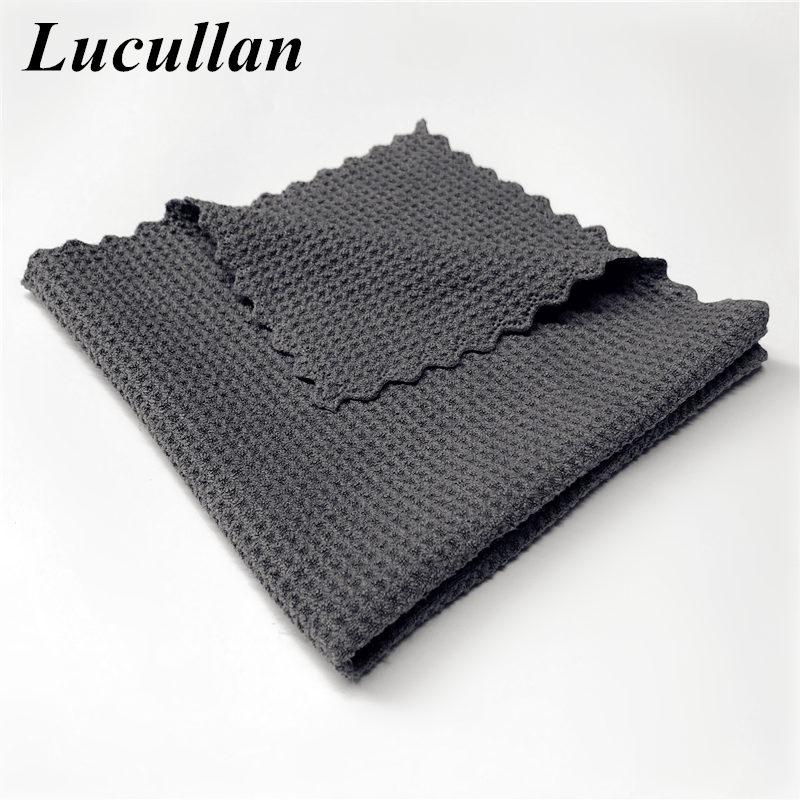 Lucullan 40X40CM Edgeless Glass Paint Interior Microfiber Drying  Cloth Super Absorbancy Lint-Free Waffle Weave Towels