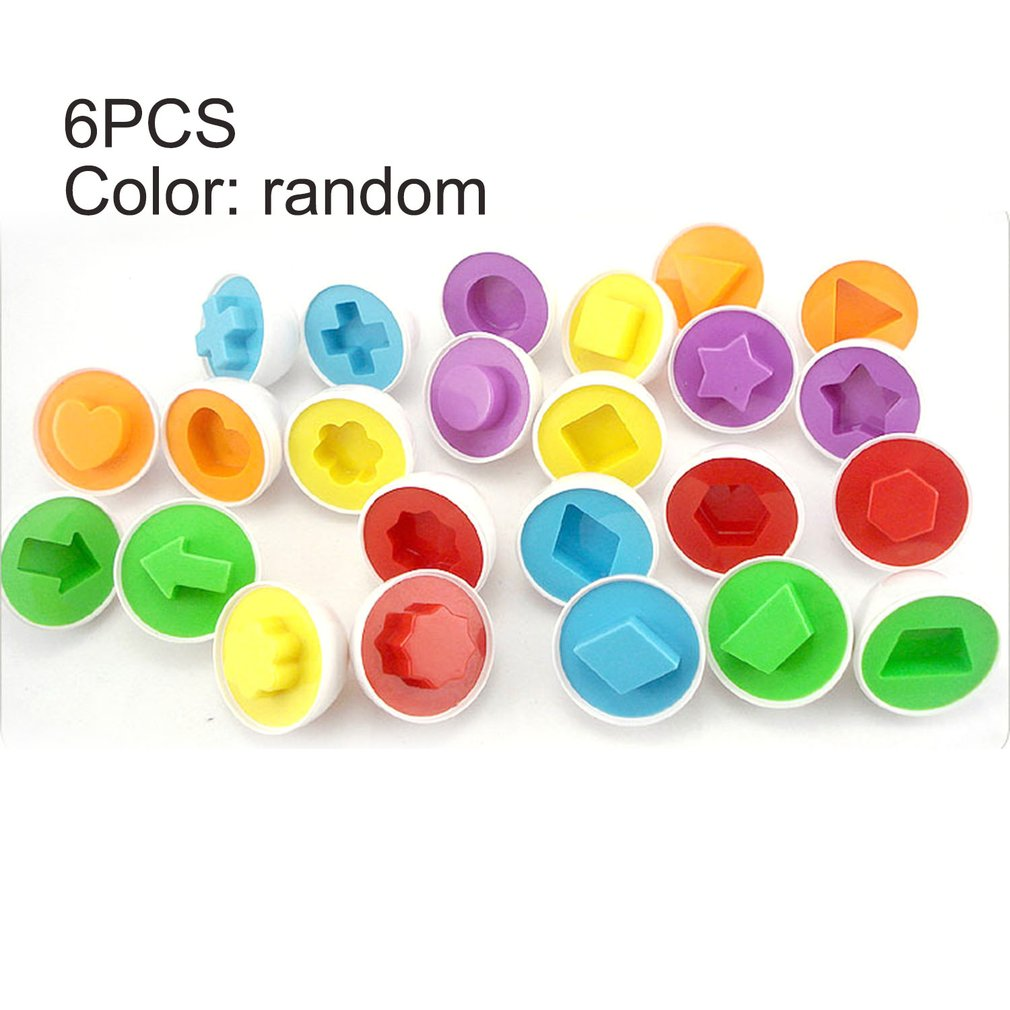 6pcs/set Baby Intelligent Eggs Toys Wise Pretend Puzzle Smart Eggs Kid Matching Puzzles For Learning Color Shape Education Toys