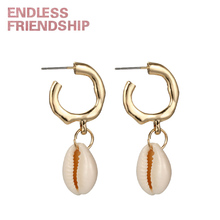 Endless Friendship Sea Shell Conch Earring Jewelry Bohemian Style Earrings for Women Summer Beach Accessories Party Gift