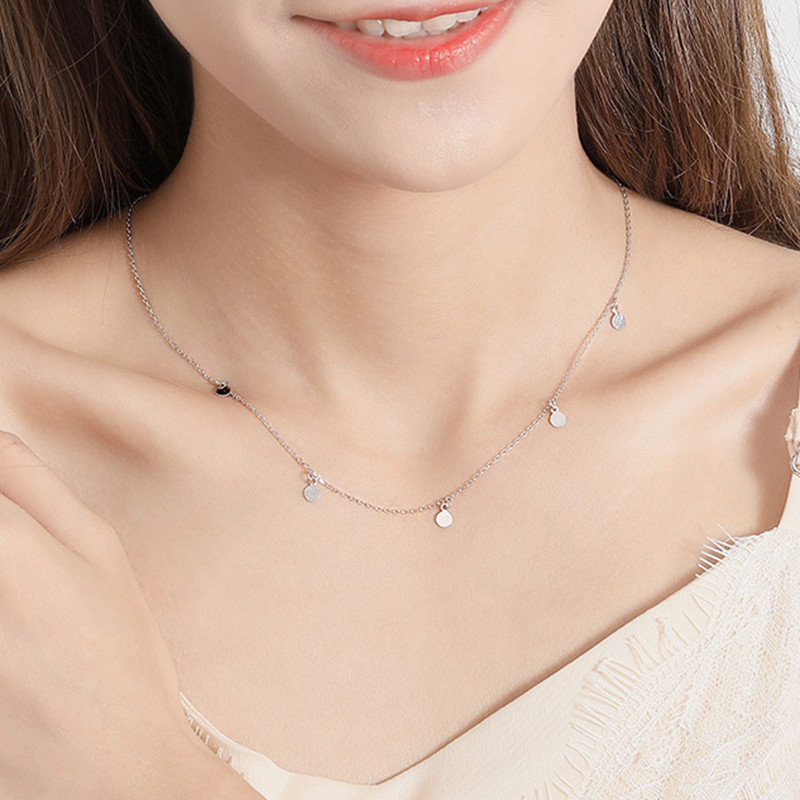 Real 925 Sterling Silver Geometric Round Choker Necklace For Fashion Women Party Fine Jewelry Gift 2019 Accessories