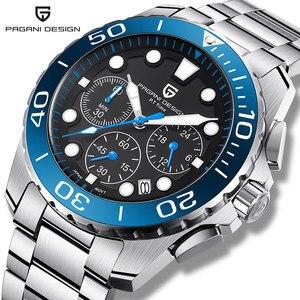 PAGANI DESIGN Quartz hommes montres haut tendance marque de luxe chronographe hommes étanche en acier bleu montre homme sport horloge 2020
