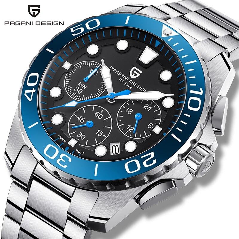 PAGANI DESIGN Quartz Men's Watches Fashion Top Luxury Brand Chronograph Mens Waterproof Steel Blue Watch Man Sports Clock 2020