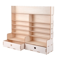 Wood Paint Rack Shelf Pigment Ink Bottles Organizer Storage Stand Holder with Cabinet Good Stability and Table Rack