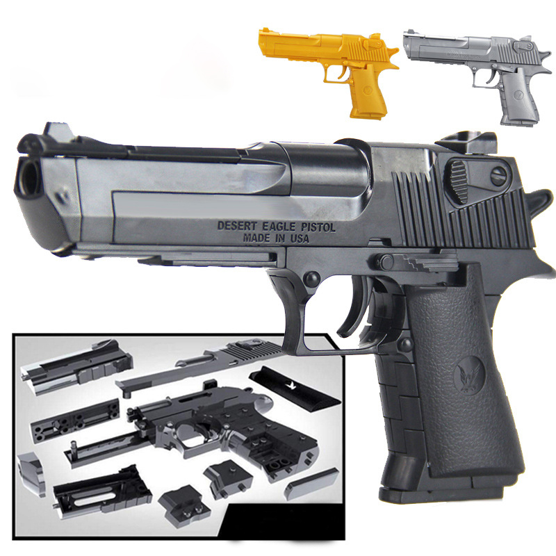 DIY <font><b>Desert</b></font> <font><b>Eagle</b></font> Pistol Early Learning Assembled Building Block Gun Simulation Military Weapons Series Pistol Model Toy Boy Gift image