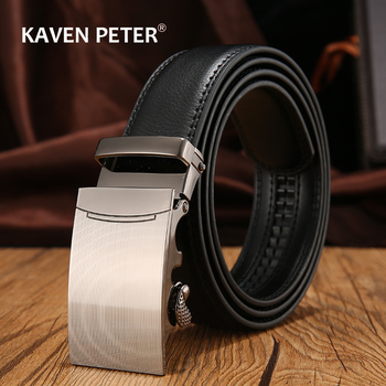 Genuine Cow Leather Automatic Belt For Men Formal Buckle Mens With Litchi Pattern Strap
