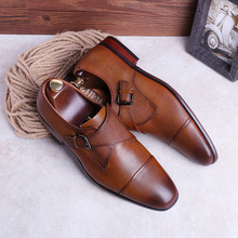 Monk Shoes Man Dress Spring 2020 Luxury Brand Genuine Leather  Calzado British Style Vintage