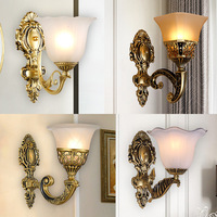 Retro European Led Wall Lamp Glass lampshade E27 Vintage Wall Light Indoor Living Room Sconce Lamps Metal Home Decoration Lights